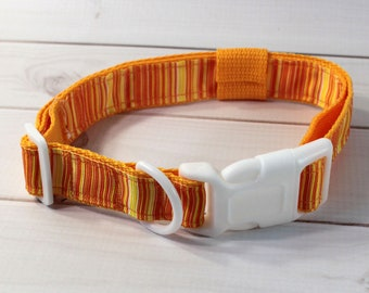 """Orange and Yellow Band 1"""" Nylon Fursuit Collar; For Humans or Fursuiters!"""