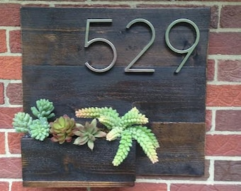Dark Stained Cedar Home Address Planter with Faux Succulents