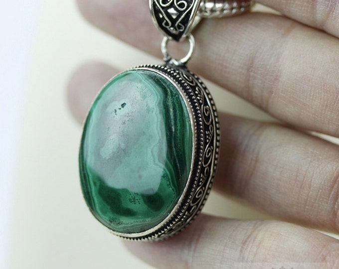 Malachite Vintage Filigree Setting 925 S0LID Sterling Silver Pendant + 4mm Snake Chain p2623