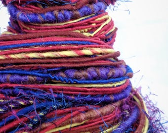 Hand Spun Art Yarn. Knitting Crochet Weaving Wool Fibre
