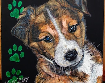 English Shepherd Puppy scratchart print -Austin