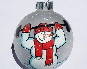 Personalized Ornament, Cross Fit Ornament, Exercise Ornament, Personal Trainer, Fitness Ornament, Snowman Ornament, Christmas Ornament