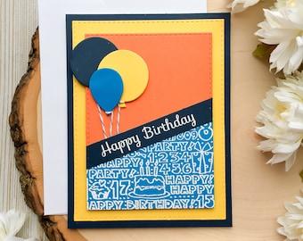 Handmade Birthday Card, Happy Birthday, Happy Birthday Card, Balloons Card, Boy Birthday Card, Masculine Birthday Card, Masculine Card