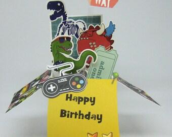 Birthday Pop Up Box Card - Card in a Box - Child - Teen Birthday Card - Dinosaurs