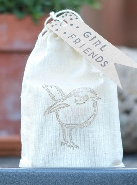 GIRL FRIENDS Tag on Your Choice 4 oz Soap Bar in Cute Bird Stamped Muslin Bag   Gift Your BFF with Some Love!