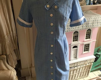 1950s blue cotton fitted dress. Waitress/nurse uniform