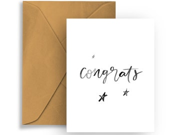 """Printable Greeting Card """"Congrats""""  Hand Lettering Typography Birthday Celebration Congratulations"""