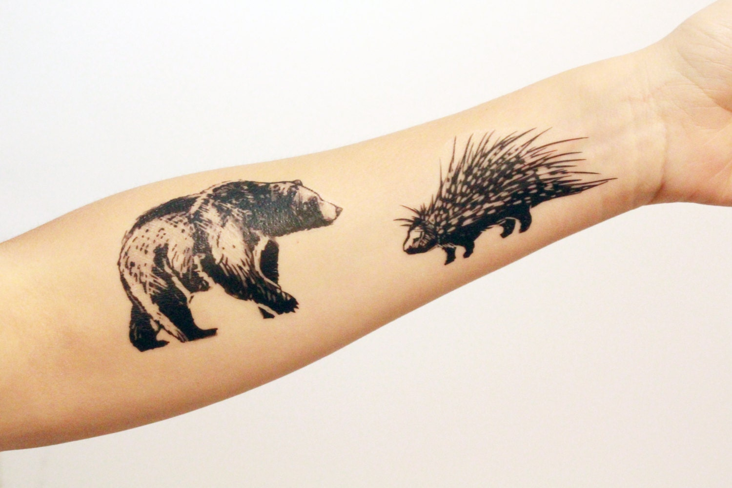temporary black ink forest animal