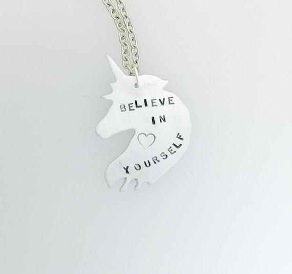 Believe in Yourself Unicorn Necklace- feminist necklace- feminist jewelry- vegan necklace- vegan gift- birthday-anniversry-graduation-Inspo