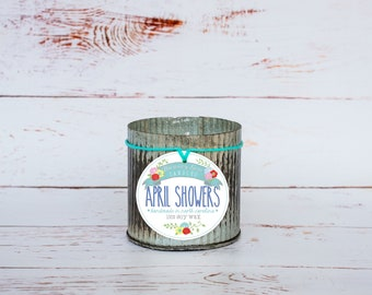 April Showers Soy Wax Candle in 12 oz. Zinc Jar - Spring Candle, Rain Scent, Housewarming, Home, Hostess Gift