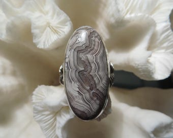 Crazy Lace Agate Jasper Ring Size 7.75
