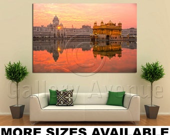Wall Art Giclee Canvas Picture Print Gallery Wrap Ready to Hang Golden Temple Amritsar Punjab India Sunset 60x40 48x32 36x24 24x16 18x12 3.2