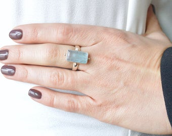 Light Aquamarine Ring // Aquamarine Jewelry // Sterling Silver // Village Silversmith