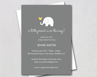 Elephant Baby Shower Invitation, Little Peanut Elephant Yellow and Grey, Gender Neutral Design, Printable Invitation, Item #32806