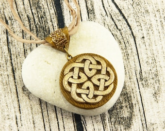 Celtic Knot - Knotwork Necklace - Bronze, Champagner, Earthtone, Silk