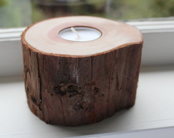 Redwood Tea Light Candle Holder | Santa Cruz Redwood | Rustic Candle Holder | Handmade