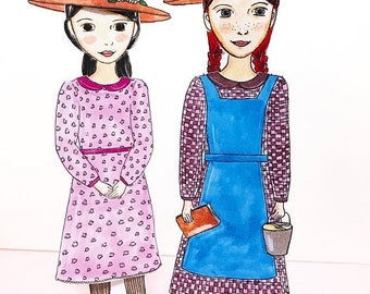 ON SALE Anne and Diana Paper Doll Set - Anne of Green Gables - Paper Dolls - DIY