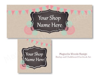 Burlap Chalkboard Facebook Cover Photo, Facebook Business Timeline Set, Facebook Timeline, Facebook Profile, Facebook Set, Digital File