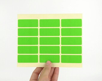 20x50mm Green Rectangular Stickers - Long sticky labels - Made of matte paper - Great for DIY rubber stamped packaging labels