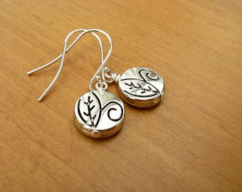 Silver Drop Earrings with Etched Coin Beads, Silver Dangle Earrings