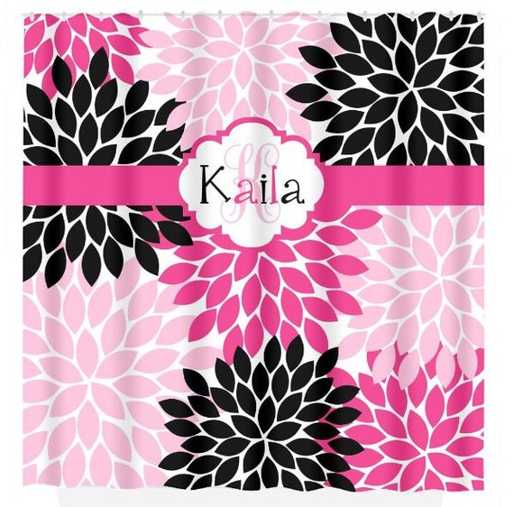 Hot Pink Black SHOWER CURTAIN Girl Name Flower Bathroom