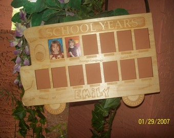Personalized school bus photo frame for grades K-12