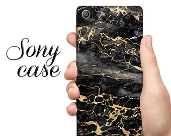 Black&gold marble case, Sony M4 CASE, sony M5 case, sony xperia Z4, marble case, Xperia X Compact, sony case, sony Z5 case, sony Z3 case