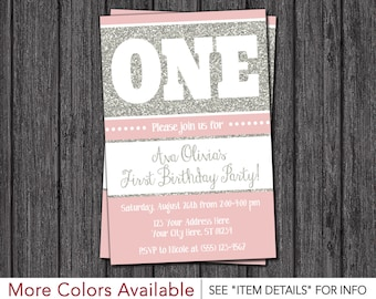 First Birthday Invitation - Pink and Silver 1st Birthday Invitations