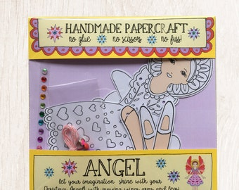 Paper Angel, Christmas Craft Kit, kids craft kit,Angel craft, childrens paper craft ,stocking filler