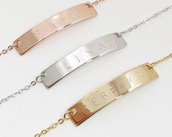 Custom Bar Bracelet: Custom Engraved Metal Bracelets, Personalized Bar Bracelet, Dainty Chain Bracelet, Unique Personalized Gifts