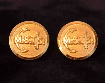 Two Vintage MSTS Brass Uniform Buttons by N.S.Meyer Inc. WWII Era