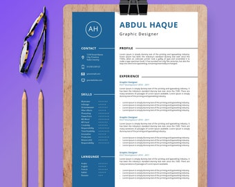 New Resume Template | CV Template + Cover Letter | Professional and Creative Resume | Teacher Resume | MS Word Resume | Instant Download