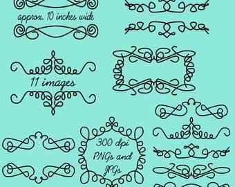 Doodle Frames Clip Art Clipart Doodle Flourishes Clip Art Clipart - Commercial and Personal