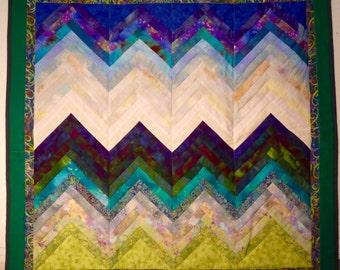 Contemporary wall hanging.  Quilt Art.  Landscape.  Mountains.  Vibrant.  Blues and greens.   Livng Room.