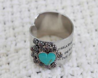 turquoise heart embellished cuff bracelet