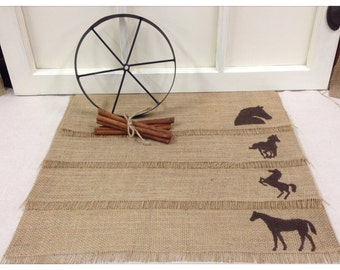 """Burlap Placemats 14"""" x 18"""" set of 4 or 6 or 8 with Horses"""