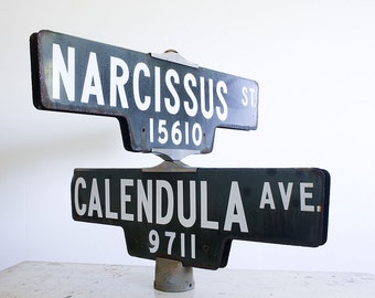 Vintage Street Sign / Intersection Sign / Southern California Industrial Decor / Flower Shop Display