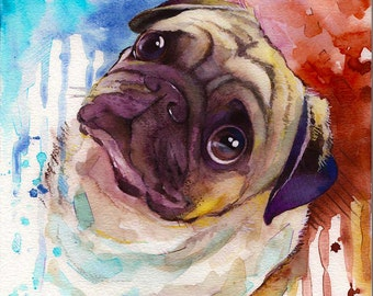 Custom Pet Portrait Watercolor Painting -Custom pet portrait Original watercolor Painting, Pet portrait dog portrait Custom portrait