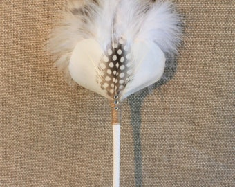 Wooden hair pin and white feathers, wedding, ethnic, fantasy