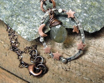 Copper Moon and Stars on hoop with faceted labradorite Briolette center bead
