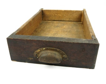 Old Wooden Drawer With Metal Knob Box Vintage Rustic Decor Wood Storage Crate Box Primitive Compartment Reclaimed Mahogany