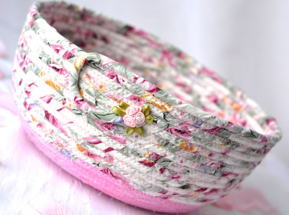 English Garden Basket, Handmade Shabby Chic Bowl, Floral Bath Basket, Makeup Organizer, Girls Room Decor, Pink coiled fabric basket