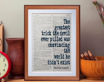 The Usual Suspects quote - dictionary page literary art print home decor present gift books music