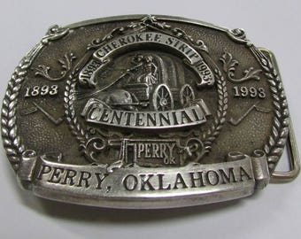 Limited Edition Sterling Silver Cherokee Strip Perry Oklahoma Belt Buckle