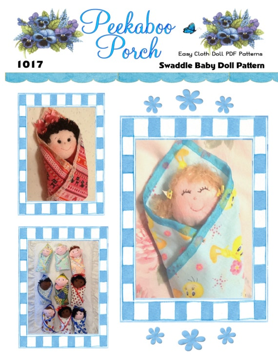 Swaddle Baby Pdf Cloth Doll Pattern With 9 Faces Amp 9 Hair