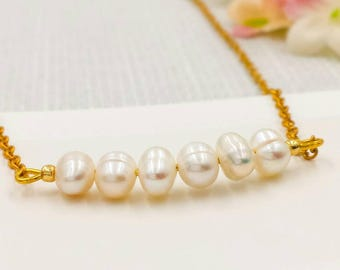 Dainty Freshwater Pearl Bar Necklace, Pearl Bar Necklace, Wedding Party Bridesmaid Sister Mom Gift for Her