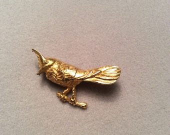 1950s B.S.K signed gold tone bird brooch