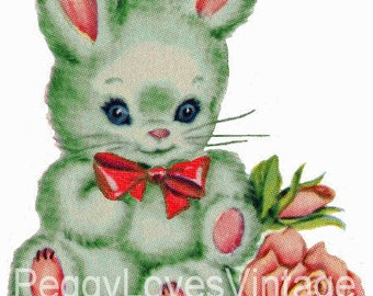 Green Bunny with Red Bow Digital Image from Vintage Greeting Cards - Instant Download