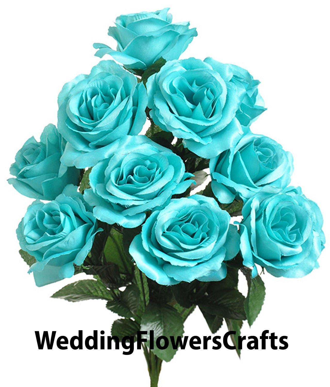 12 Open Robins Egg Blue Roses Aqua Turquoise Tiffany Pool