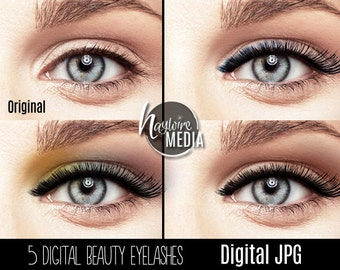 Beauty Fashion Digital Eyelashes for Women Makeup  Effect - Use in Photoshop with Multiply Blending Mode - Digital JPG with White Background